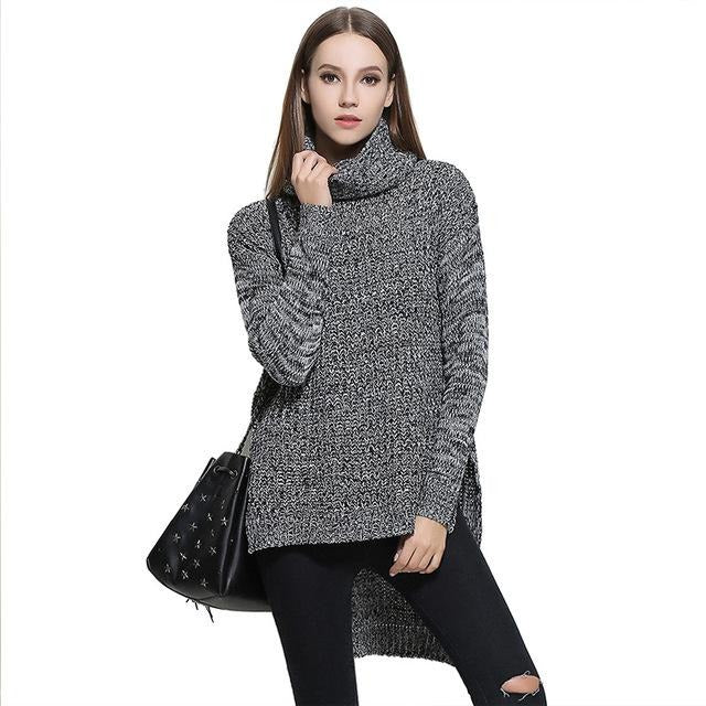 Jewish Girl 2017 Winter New Fashion Women's Pullover Long Sleeves Turtleneck Front Short Back Long Split Casual Loose Knitted Sweater
