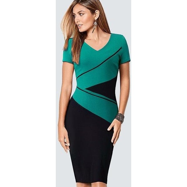 Jewish Girl Plus Size Casual Contract ColorBlock Lady Dress Women Classic V Neck Work Office Business Sheath Bodycon Pencil Dress HB384