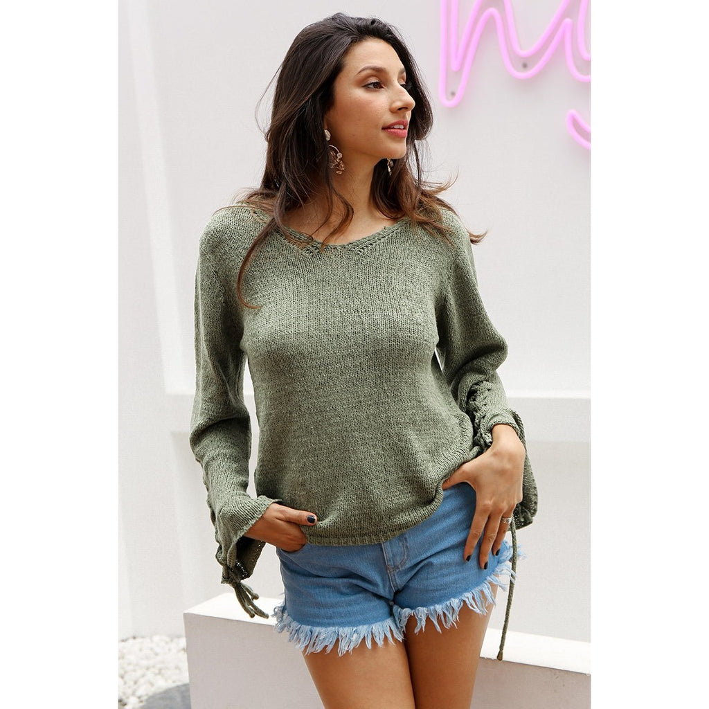 Jewish Girl Lace up knitted sweater pullover Women casual loose winter  sweater jumper Female sexy v d13fa6ce8
