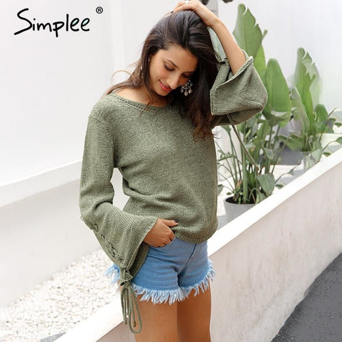 Jewish Girl Lace up knitted sweater pullover Women casual loose winter sweater jumper Female sexy v neck flare sleeve autumn sweater