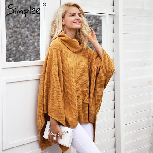 Knitted turtleneck sweater cape
