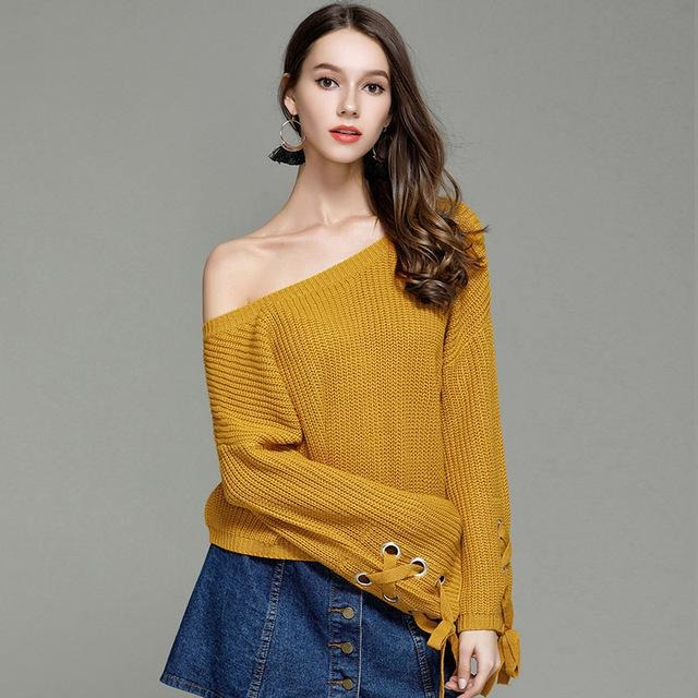 Jewish Girl Pullover O-neck Flare Sleeve Knitted Solid Color Sweaters