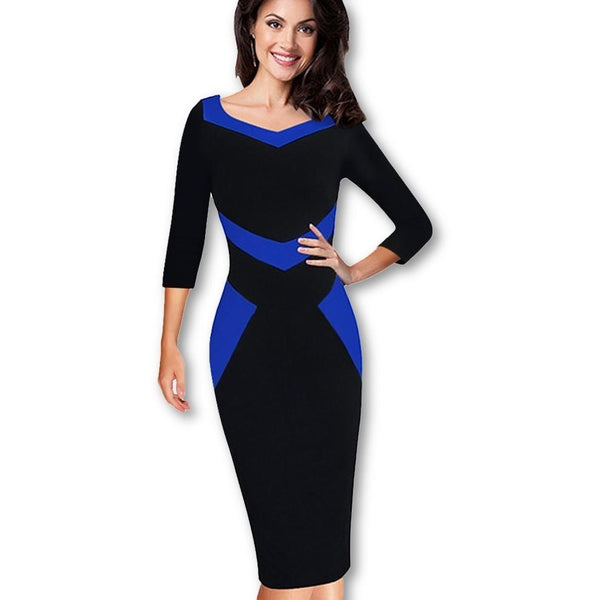 Jewish Girl Nice-forever Elegant Optical Illusion ColorBlock Wear to Work vestidos Bodycon Women Office Business Sheath Slim Dress B411