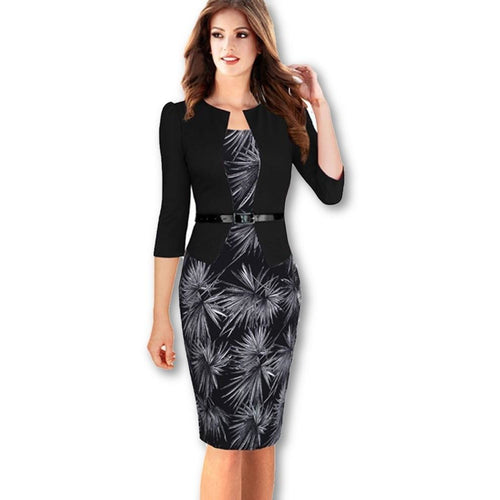 Jewish Girl Nice-forever One-piece Faux Jacket Brief Elegant Patterns Work dress Office Bodycon Female 3/4 Or Full Sleeve Sheath Dress b237