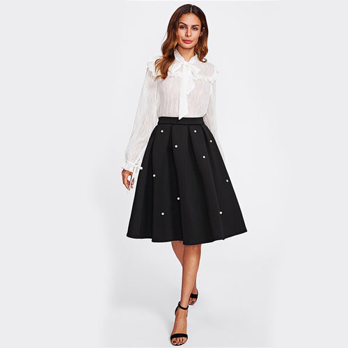 Pearl Embellished Pleated Circle Black Knee Length A-Line Skirt