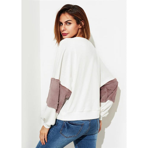 Fuzzy Color Block Pullover Long Sleeve Top Pullover  Sweatshirt