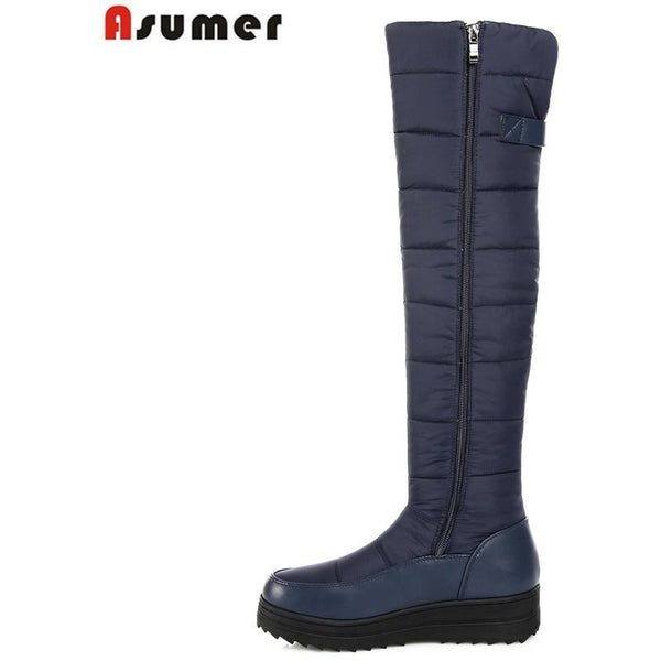 2018 new high quality down warm snow boots women round toe platform thigh high boots fashion zipper over the knee boots