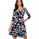 Blue Floral Back zipper O-Neck A-Line Dress