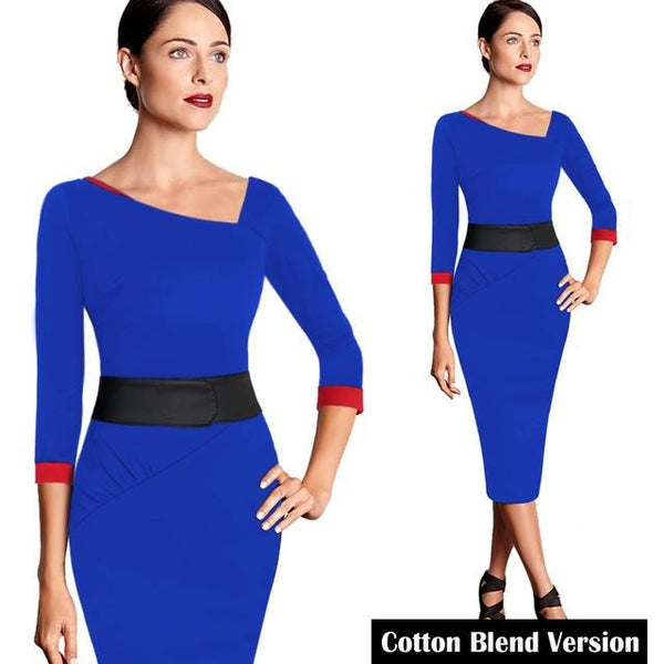 Jewish Girl Asymmetric Neck pencil Dress 1056