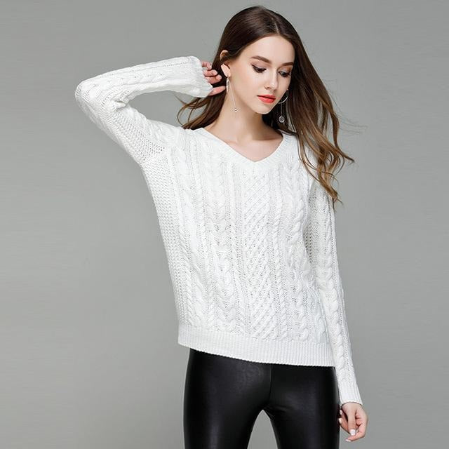 Jewish Girl Long Sleeves V-neck Knitted Rib Solid Color Sweaters