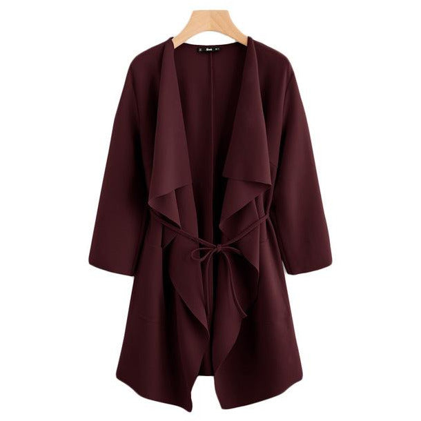Waterfall Collar Pocket Front Wrap Burgundy