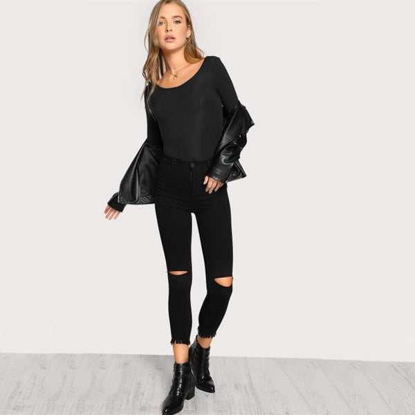 Scoop Back Solid Bodysuit Fashion Black Round Neck Long Sleeve Sexy Backless Bodysuit Women Skinny Autumn Bodysuit