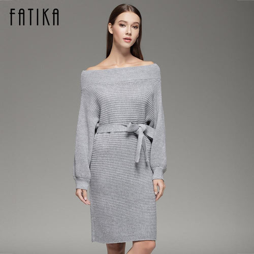 Jewish Girl 2017 Women Strapless Off Shoulder Dress Autumn Winter Slash Neck Women Long Batwing Sleeve Knitted Loose Sweater