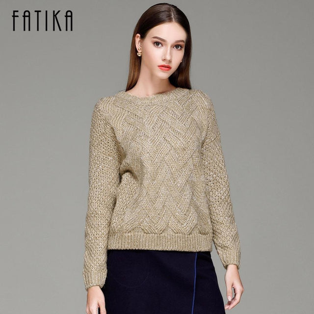 Elegant Crew Neck Loose Casual Knitted Long Sleeve Sweaters – Jewish ... b25a7c47b