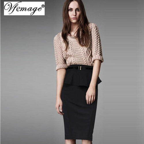 Jewish Girl Women Elegant Frill Peplum High Waist Casual Work Office Business Cocktail Party Fitted Bodycon Pencil Wiggle Skirt 8129