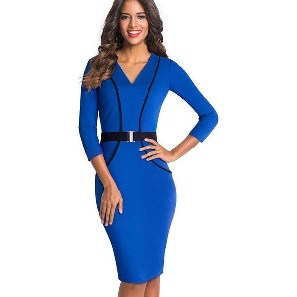 Jewish Girl Women Elegant Optical Illusion Patchwork Contrast Slim Casual Work Office Business Belted Party Bodycon Pencil Dress EB414