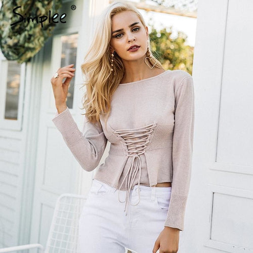 Jewish Girl Waistband lace up knitted sweater women jersey Round neck casual knitting jumper Winter sweater pullover female 2017