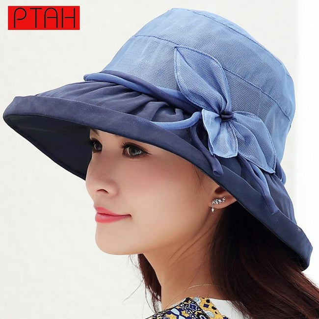 PTAH Organza Foldable Wide Brim Floppy Visors Beach Hats For Women Floral Bow Adjustable Silk Sombrers Sunscreen Sun Caps 0538
