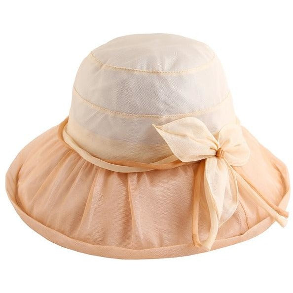 5eacd271862 PTAH Organza Foldable Wide Brim Floppy Visors Beach Hats For Women Floral  Bow Adjustable Silk Sombrers Sunscreen Sun Caps 0538