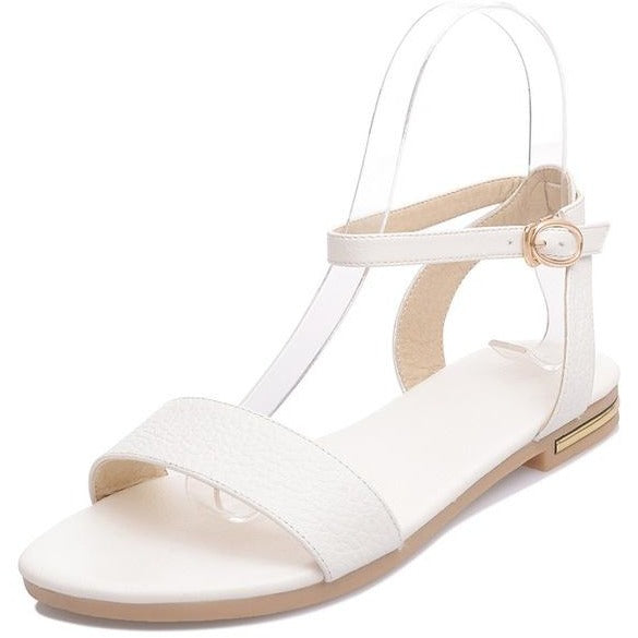 Asumer leather Buckle Strap Flat Sandals