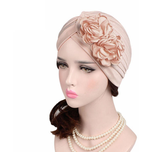 Women Large Flower Model Headscarf Solid Chemotherapy Cap Casual Western Style Ruffle Cancer Chemo Hat Beanie Scarf Turban Wrap