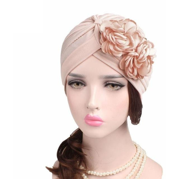 Women Large Flower Model Headscarf Solid Chemotherapy Cap Casual Western  Style Ruffle Cancer Chemo Hat Beanie ... 71f72882bb58