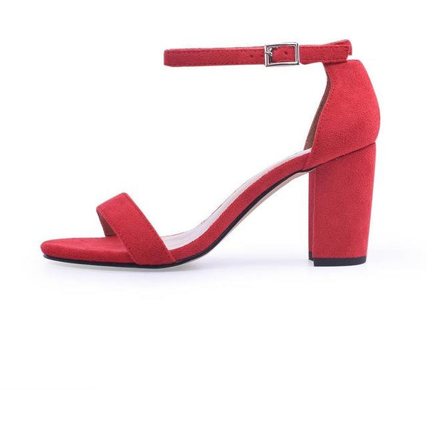 Ankle Strap Open Toe Chunky High Heels Sandals