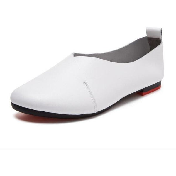 Plus size Handmade ballet leather flat casual shoes