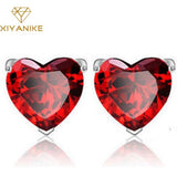 New Plating Silver Earring Red Garnet Heart High-grade Zircon Crystal Earrings For Women Birthday Gift brincos XY-E113