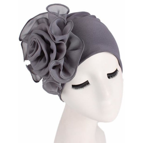 Women Stretchy Beanie Bonnet with Big Flower Hair Loss Cap Ladies Bandanas African Turban Head Wrap for Wedding Party