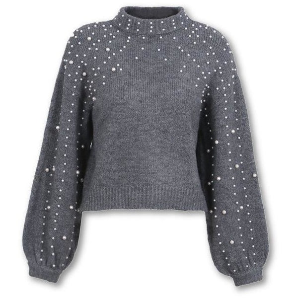 Jewish Girl Pearl turtleneck winter knitted sweater Women lantern sleeve  loose gray pullover female Soft warm ... 282483318