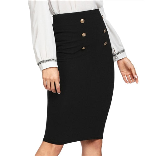 Black Double Button High Waist Knee Length Solid Pencil Skirt