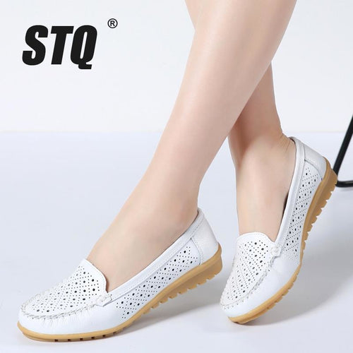 STQ 2018 Spring women flats shoes women genuine leather shoes woman cutout loafers slip on ballet flats ballerines flats 169