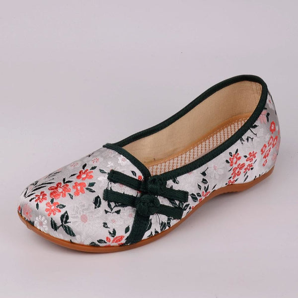 Veowalk Floral Printed Fabric Women's Canvas Ballet Flats Retro Style Slip on Comfort Shoes ladies ballerines femme chaussures