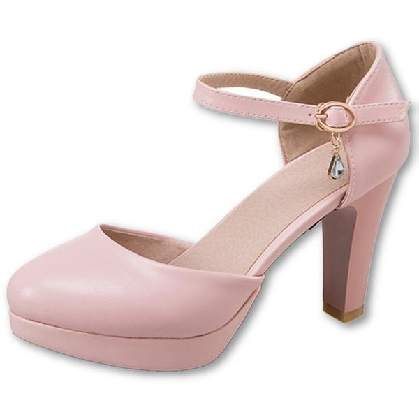 Buckle Pumps Round Toe High 3009