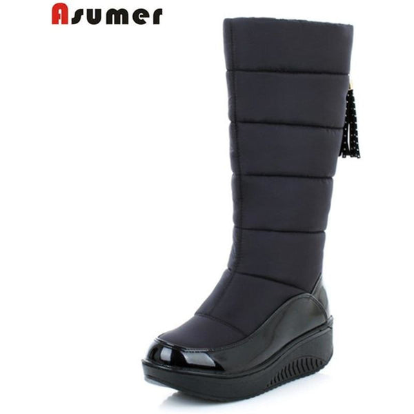 winter Snow boots fashion platform wedges heels knee high boots