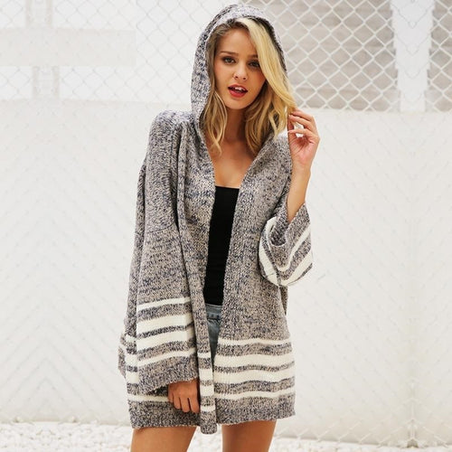 Hooded knitted Flare sleeve loose striped jumper sweater