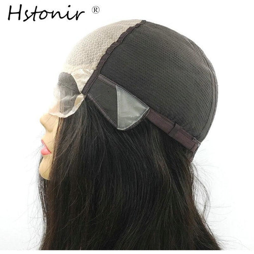 Hstonir Natural Wave Hair Wig Lace In Front Poly Silk Base Adjustable Hair Wigs For Women