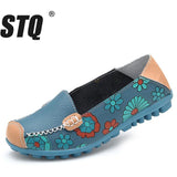 STQ 2018 Spring women genuine leather ballet flats casual shoes round toe slip on flats female loafers ballerina flats 3591