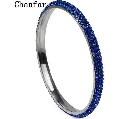 Chanfar 3 Rows Crystal Jewelry Stainless Steel Bangle & Bracelet For Women Jewelry Gift