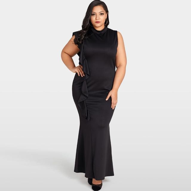 Jewish Girl Women Club Dress Plus Size Ruffle Side Stand Collar Sleeveless Bodycon Fishtail Dress Oversized Party Clubwear Black Dress