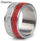 Chanfar 6 7 8 9 10 Shining Different Color Crystal Paved 316L Stainless Steel Ring For Women Men Engagement Ring Jewelry