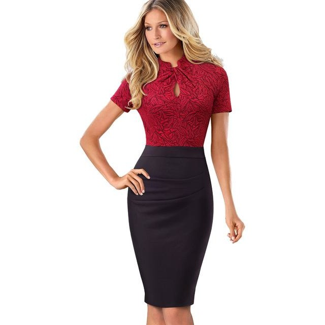 Jewish Girl Nice-forever Vintage Contrast Color Patchwork Wear to Work Knot vestidos Bodycon Office Business Sheath Women Dress B430
