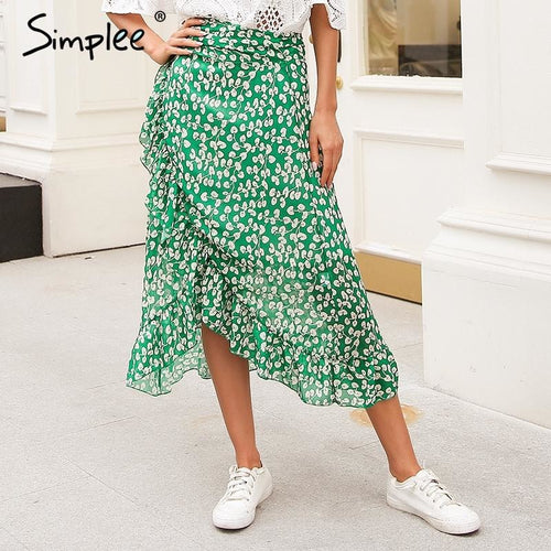 Jewish Girl Ruffle leaf print wrap skirt women Sash tie up beach summer skirt asymmetric 2018 High waist streetwear long skirt femme