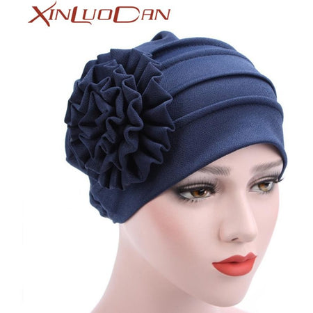 Women Large Flower Headscarf Beanie Scarf Turban Wrap Western Style Ruffle Cancer  Chemo Hat Chemotherapy Caps Hedging Cap WH265 aed63f1d443