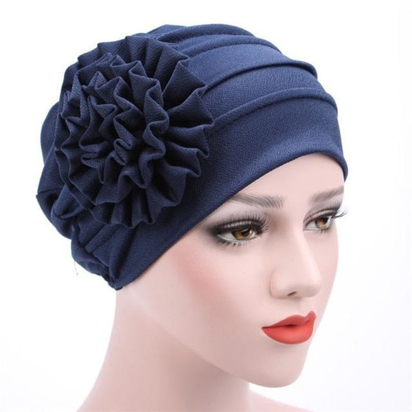 Women Large Flower Headscarf Beanie Scarf Turban Wrap Western Style Ruffle  Cancer Chemo Hat Chemotherapy Caps ... 3c078b7fac5f