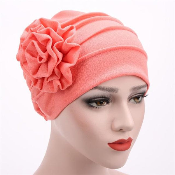 Women Large Flower Headscarf Beanie Scarf Turban Wrap Western Style Ruffle Cancer Chemo Hat Chemotherapy Caps Hedging Cap WH265