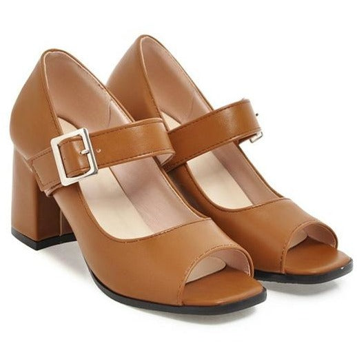 peep toe buckle square heel pumps