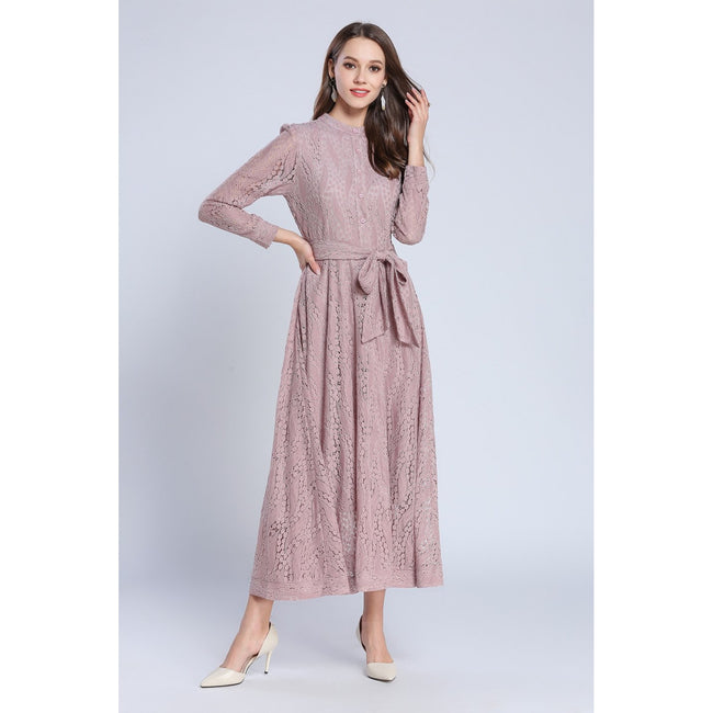 Pink Fashion O-neck Hollow Out A-line Lace Dress