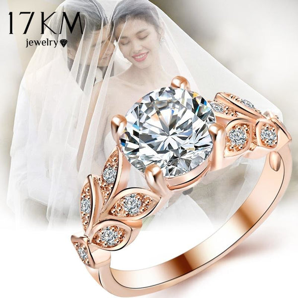 17KM New Silver Color Leaf Flower Wedding Rings For Women Lover Bijoux Anel Femme Engagement Ring Crystal Fashion Jewelry Gift